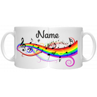 Rainbow Musical Score Notes 11oz Personalised Mug