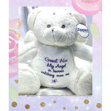 Personalised Embroidered White & Silver Angel Memory Teddy Bear