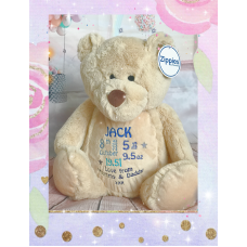 Personalised Embroidered Light Brown Plush Bear