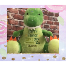 Personalised Embroidered Green Plush Dinosaur