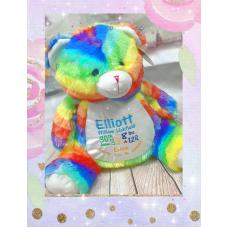 Personalised Embroidered Rainbow Plush Teddy Bear
