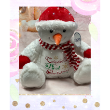 Personalised Embroidered First Christmas Snowman Teddy Bear