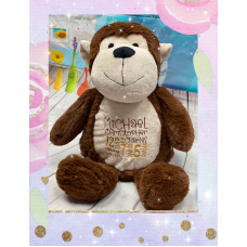 Personalised Embroidered Brown Plush Monkey Teddy