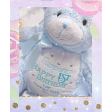 Personalised Embroidered Blue Plush Bear