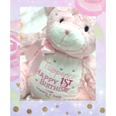 Personalised Embroidered Pink Plush Bear