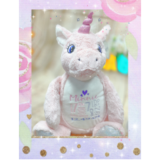 Personalised Embroidered Pink Plush Unicorn